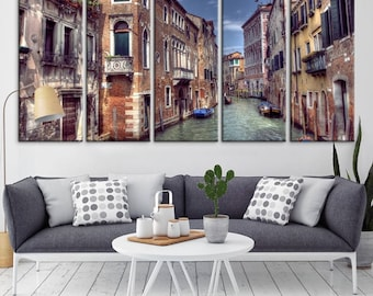 Extra Large Wall Art Venice Canvas Prints - Venice Canals and Gondolas Canvas Art, Italy Venice Canals, Housewarming Gift, Cityscape Canvas