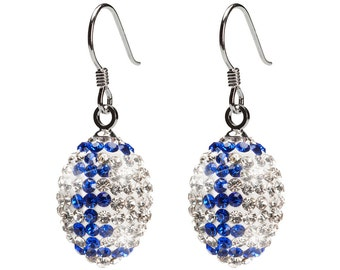 Clear with Blue Stripes Crystal Pendant Football Earrings