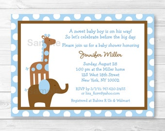 Blue Elephant Giraffe Baby Shower Invitation PRINTABLE