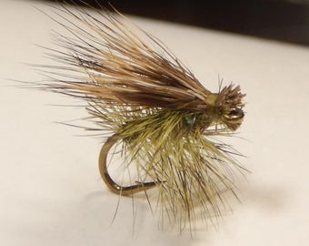 Three (3) Elk Hair Caddis flies, size 12-16, (Olive or Brown), for fly fishing