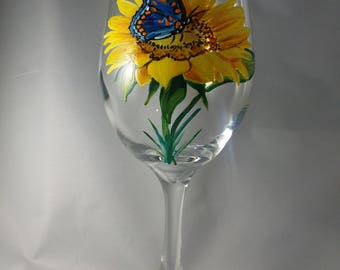 Hand painted Sunflower with Butterfly Wine Glass