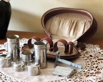 Shaving Kit - Travel Razor Kit - Toiletry Kit - Soluna Safety Razor - Groomsmen Shaving Gift - Vintage Dopp Kit - Made in Czechoslovakia