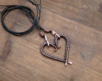 Copper heart necklace. Long necklace with big copper pendant. Heart antique copper. heart necklace