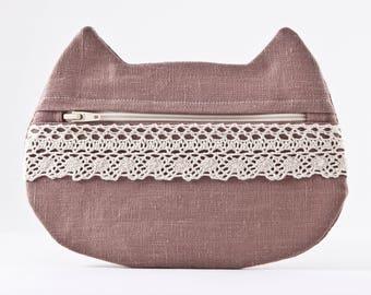 Linen Cosmetic Bag, Beige Makeup Bag, Cat Lover Gift, Lace Cosmetics Pouch, Pencil Case, Makeup Organizers, Toiletries Bag, Cat Ears