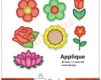 Flower applique etsy flower applique embroidery design set embroidery designs flower rose tulip sunflower dt1010fo