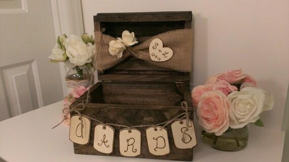 Personalized Rustic Card Box Burlap Wedding Reception