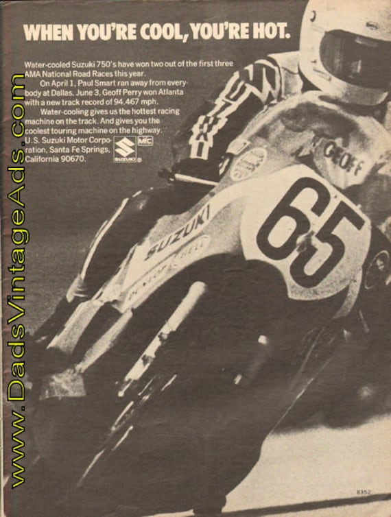 1973 Geoff Perry / Water cooled Suzuki 750's - when you're cool, you're hot Ad #de73ha03