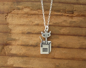 Cat in a Box Necklace - Cat Necklace - Sterling Silver Cat Pendant