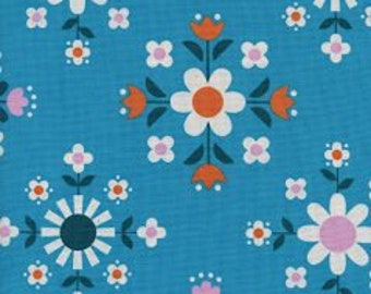 WELSUMMER Unbleached Cotton  By Kim Kight for Cotton and Steel Fabrics Florametry Bright Blue