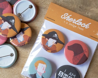 4x Sherlock Badge/Button Pack