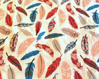 Blue and coral feathers 50 x 70 cm fabric coupon