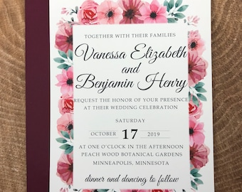 Pink and Green, Blush and Sage Floral Wedding Invitation