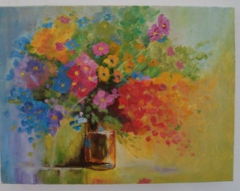 Flowers in the vase oil painting on canvas 30x40