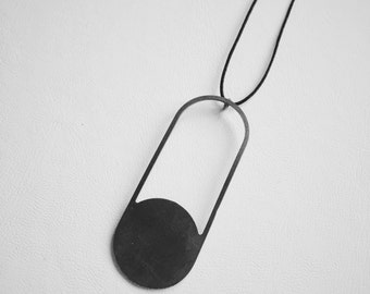 Pendant necklaces for women, minimal necklaces for gift, silver abstract necklaces, long pendant gift christmas wife, black bauhaus jewelry