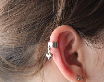 Silver heart ear cuff, Cartilage ear cuff, Cute heart ear cuff, No piercing ear cuff, Cartilage earring, small ear cuff, Silver ear cuff