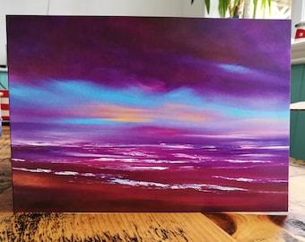 Aqua Twilight,  Skyscape Fine Art Card - Art, Greetings Card, skyscape, seascape, sunset, sunrise, colour