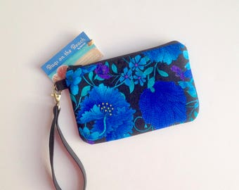 Small Pouch, Wristlet with Removable Strap, Zippered Wristlet, Mosaic Floral Shades of Plume Blue, Errand Runner Pouch, Small Pouch