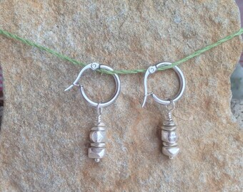 Silver Cairn Earrings , Petite, Rock Climber Gift