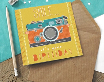 Smile It's Your Birthday blank birthday card designed by Claire Wilson Designs. Masculine inspired stationery, designed & printed in the UK