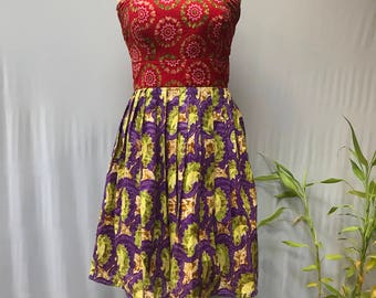 African print, mixed print strapless dress.