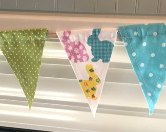 SALE ***Easter Fabric Banner/Bunny Fabric Banner/Easter Bunting/Bunny Fabric Bunting/Easter Flag Banner/Easter Decor/Spring