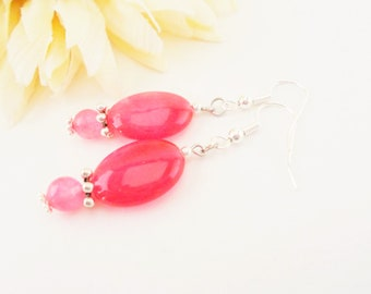Hot Pink Earrings, Agate Jewelry Gift Under 30, Magenta Earrings Sterling Silver Boho Earrings, Statement Earrings, Birthday Gift for Sister