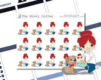 Planner Stickers Doodle Girl Feeding Dog - Erin Condren Life Planners - NC115