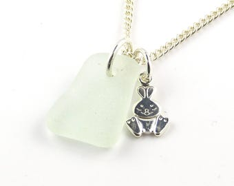 Sea Glass Jewelry   Sterling Silver Rabbit Charm   Sterling Silver Necklace   Seaglass Necklace   Beach Jewelry   Charm Necklace