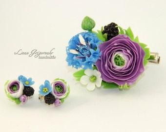 buttercup jewellery, flower hairclip, cold porcelain, wedding stuff, groom boutonniere, blue flower hairclip, blackberry earrings