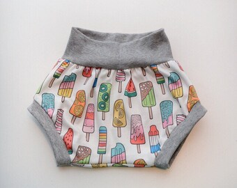 Popsicle beach bummie Shorts ORGANIC Cotton Infant/Toddler with Waistband and Leg Cuffs in gray
