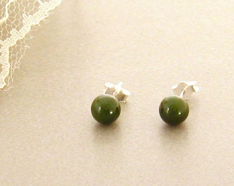 6 mm Green Nephrite Jade Stud Earrings Sterling Silver Post