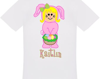 Personalized Easter Bunny Girl T-Shirt