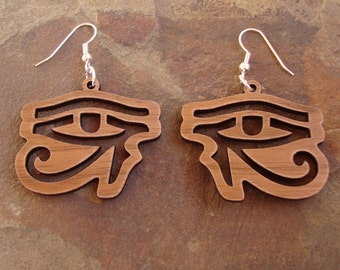 Sustainable Wooden Earrings - Eye of Horus - in Walnut - medium, Egyptian hieroglyph eyes