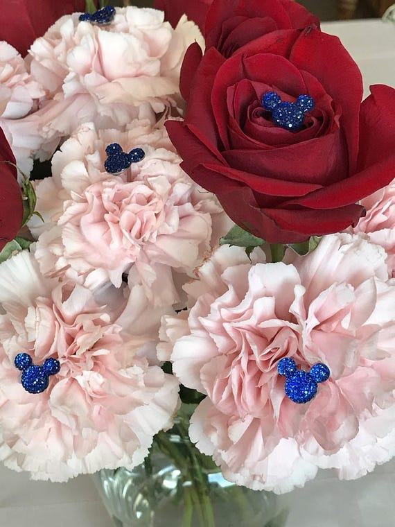 Hidden Mickey-Disney Inspired-Mouse Ears Bouquets-Wedding Flower Picks-Floral Pins-Flower Posts-Royal Blue Bridal Flowers Qty 6