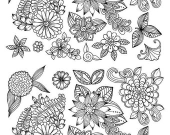 Black Flowers - Ceramic Decals- Enamel Decal - Fusible Decal - Glass Fusing Decal ~ Waterslide Decal - 98035170