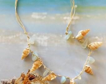 Sand and Sea sea glass shell opal beach necklace
