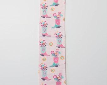 "Horse Tail Bag 29"" - Pink Blue Cowboy Boot  - Handmade"