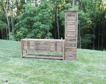 Rustic Linen Cabinet Reclaimed Barn Wood W Tin Inserts