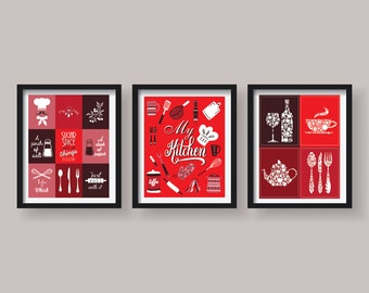 Red Kitchen Decor Red Kitchen Wall Art Kitchen Prints Kitchen Art Red  Kitchen Poster Set Set Of 3 Prints Red Dining Room Decor Funny Prints