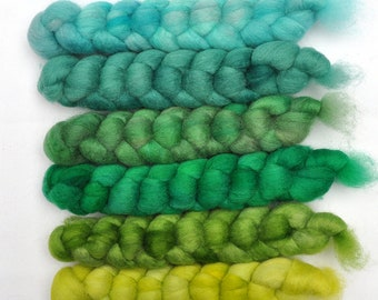 Hand dyed roving -  Blue Faced Leicester (BFL) wool spinning fiber - 6.2 ounces - God's Green Earth