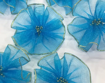 Blue Ribbon Flowers-Blue Flowers-Ribbon Flowers-Artificial Flowers-Flowers