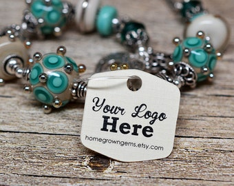 """Custom Tags - 1"""" Personalized with Logo Text Hexagon - Jewelry Tags - Price Tags - Hang Tags"""