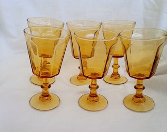 Amber footed Goblets Set of 6 vintage dining tumblers water glasses