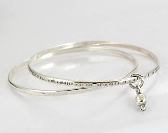 Pomegranate Bracelet - Sterling Silver Bracelet- Silver cuff - Hoops Bracelet - Women's Gift- Stack Bracelet