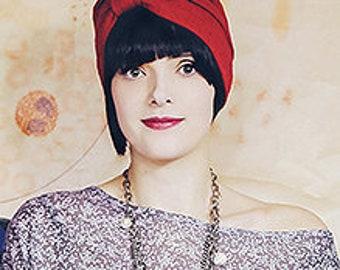 Crimson Stretch Cotton Turban with 1920's Flare (one-size) rework, one of a kind, handmade, retro, eco friendly, stretch, warm