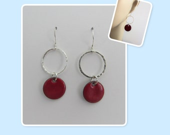 Flame Red Enamel Sterling Silver Hammered Circle Earrings