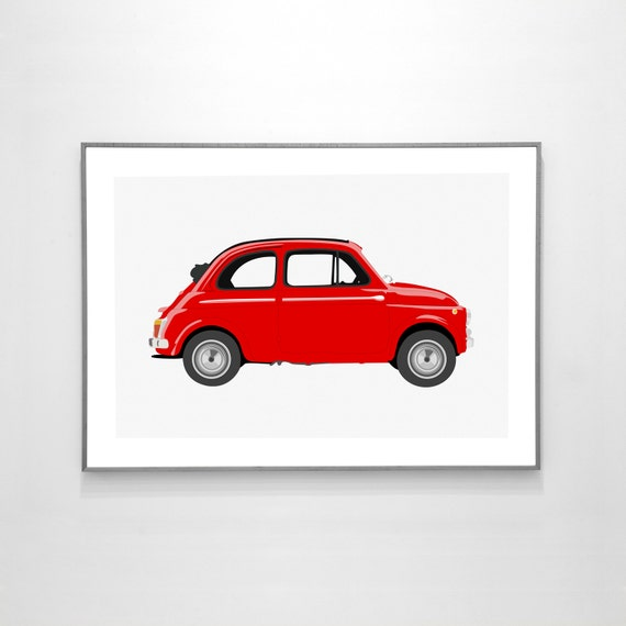 fiat 500 1957 big poster 19x13 inches on recycled premium. Black Bedroom Furniture Sets. Home Design Ideas