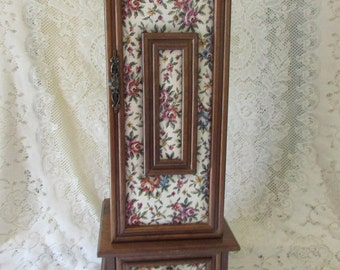 Love Story Music box Musical wooden jewelry, VINTAGE furniture to jewelry with Tapestry front, VTG Musical Jewelry Box With Tapestry