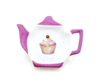 porcelain cup cake tea bag rests