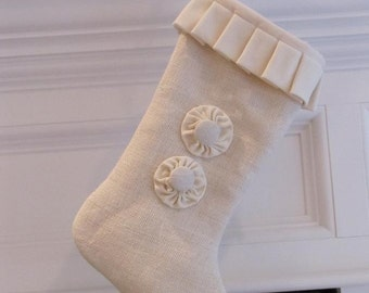 Burlap Christmas Stocking Winter White with Two Buttons